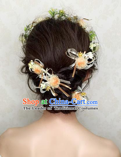 Top Grade Handmade Wedding Hair Accessories Champagne Flowers Hair Stick, Baroque Style Bride Headwear for Women