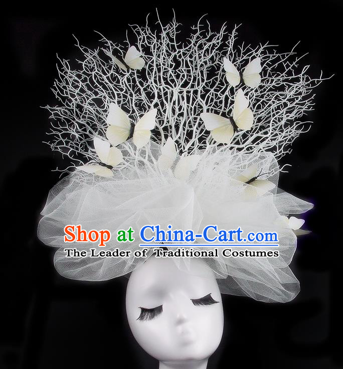Handmade Exaggerate Fancy Ball Hair Accessories White Veil Butterfly Headwear, Halloween Ceremonial Occasions Model Show Headdress
