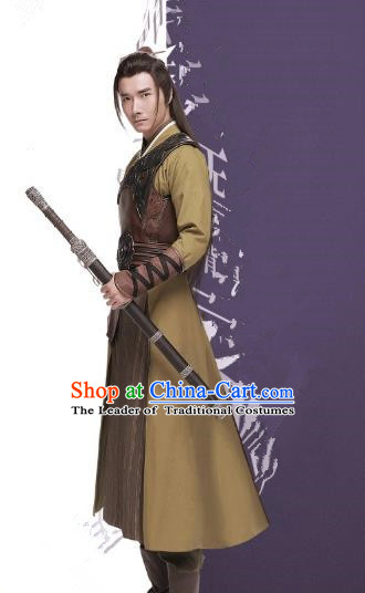 Traditional Chinese Qin Dynasty Kawaler Embroidered Costume, Asian China Ancient Swordsman Clothing for Men