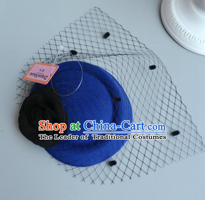 Handmade Wedding Vintage Hair Accessories Royalblue Veil Wool Top ...