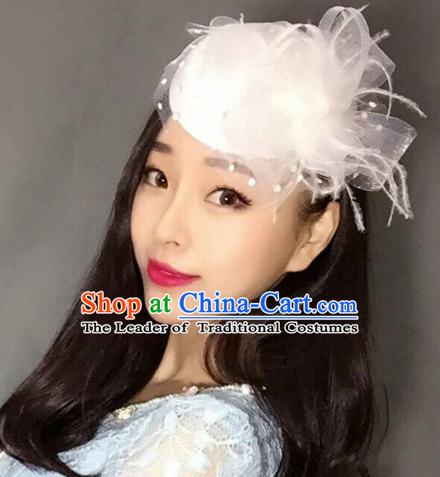 Handmade Vintage Hair Accessories Veil White Flower Top Hat Headwear, Bride Ceremonial Occasions Model Show Headdress