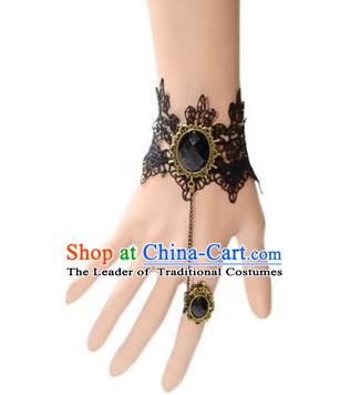 Handmade Exaggerate Fancy Ball Accessories Black Lace Bracelets, Halloween Ceremonial Occasions Vintage Chain Bracelet