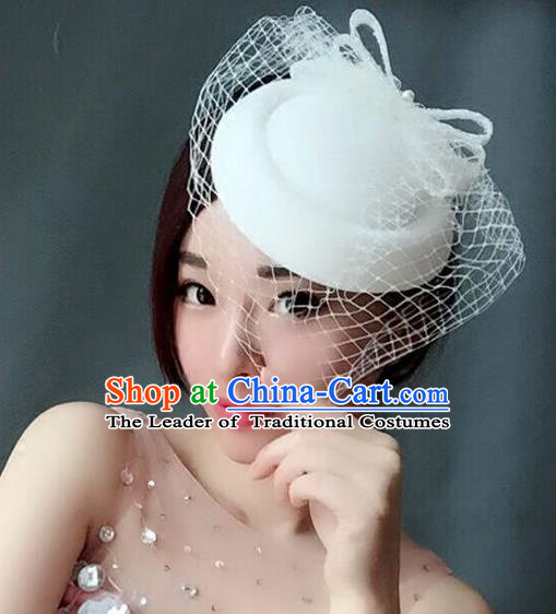 Handmade Exaggerate Wedding Hair Accessories White Top Hat, Bride Ceremonial Occasions Vintage Headwear