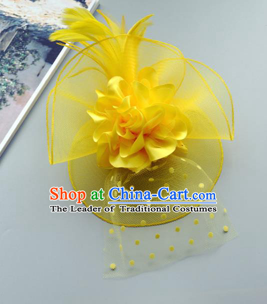 Handmade Wedding Hair Accessories Yellow Lace Headwear, Bride Ceremonial Occasions Vintage Top Hat