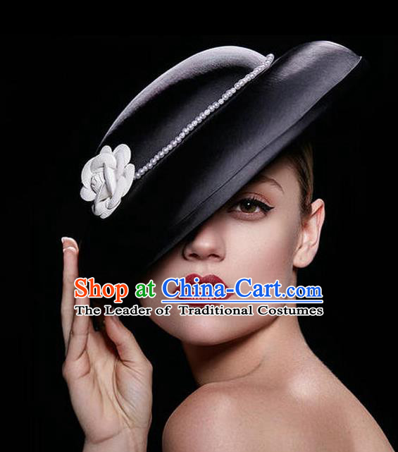 Handmade Baroque Wedding Hair Accessories Headwear, Bride Ceremonial Occasions Vintage Black Top Hat for Women