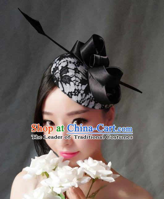 Handmade Baroque Wedding Hair Accessories Headwear, Bride Ceremonial Occasions Vintage Black Lace Top Hat for Women