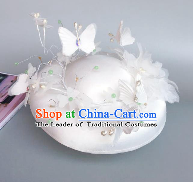 Handmade Baroque Hair Accessories Model Show White Butterfly Top Hat, Bride Ceremonial Occasions Headwear for Women