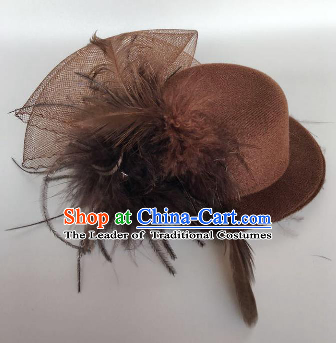 Handmade Baroque Hair Accessories Model Show Brown Feather Top Hat, Bride Ceremonial Occasions Headwear for Women