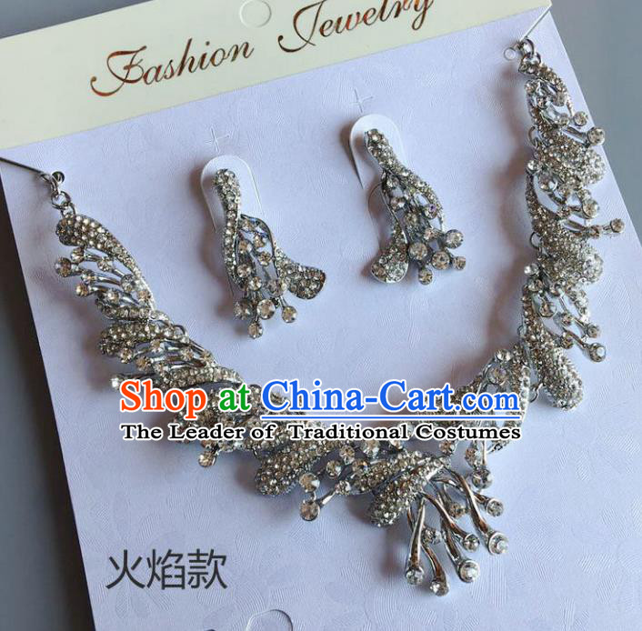 Handmade Wedding Accessories Crystal Necklace and Earrings, Bride Ceremonial Occasions Necklet and Eardrop for Women