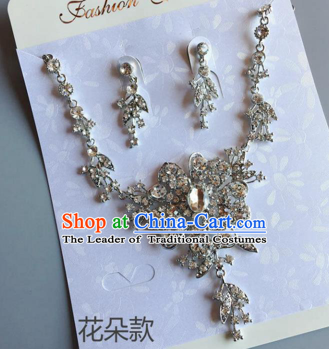 Handmade Wedding Accessories Crystal Flower Necklace and Earrings, Bride Ceremonial Occasions Necklet and Eardrop for Women