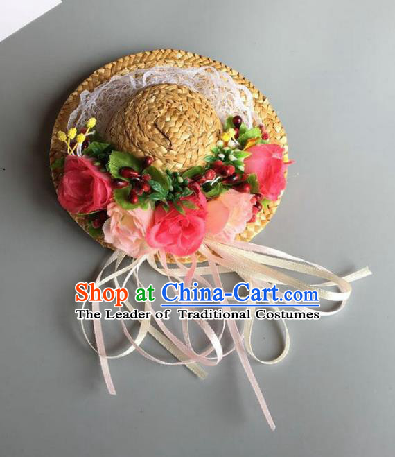 Handmade Baroque Hair Accessories Model Show Flowers Straw Hats, Bride Ceremonial Occasions Headwear for Kids