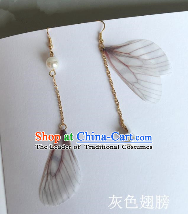 Handmade Wedding Accessories Grey Wing Earrings, Bride Ceremonial Occasions Pearl Tassel Eardrop for Women
