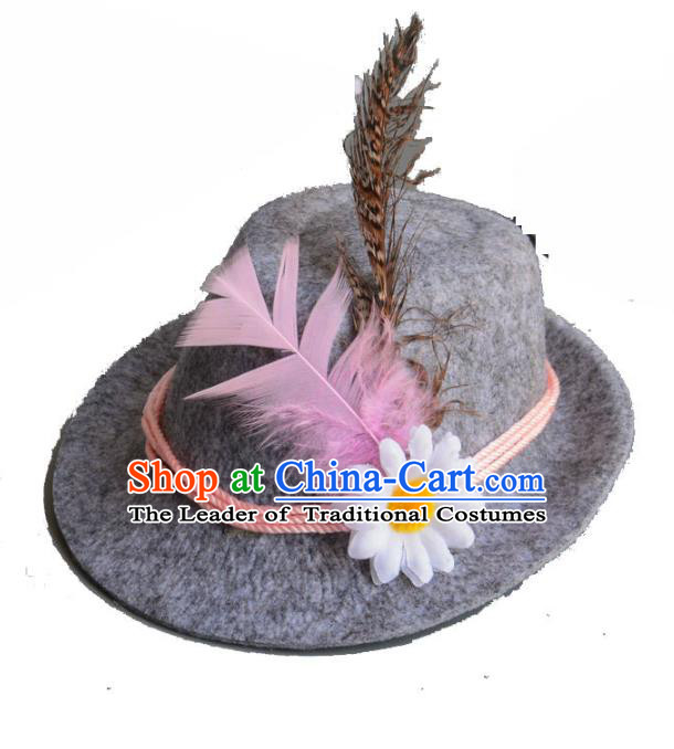 Top Grade Handmade Wedding Hair Accessories Grey Hair Clasp, Baroque Style Halloween Top Hat for Kids