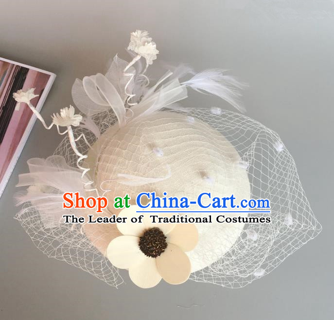 Handmade Baroque Hair Accessories Flowers White Top Hats, Bride Ceremonial Occasions Headwear for Women