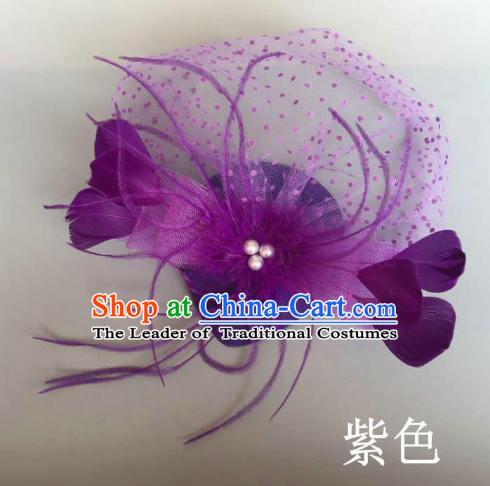 Handmade Baroque Hair Accessories Purple Feather Headwear, Bride Ceremonial Occasions Top Hat for Kids