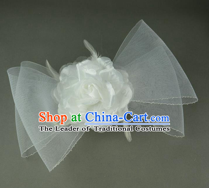 Handmade Baroque Hair Accessories White Veil Bowknot Headwear, Bride Ceremonial Occasions Hair Stick for Kids