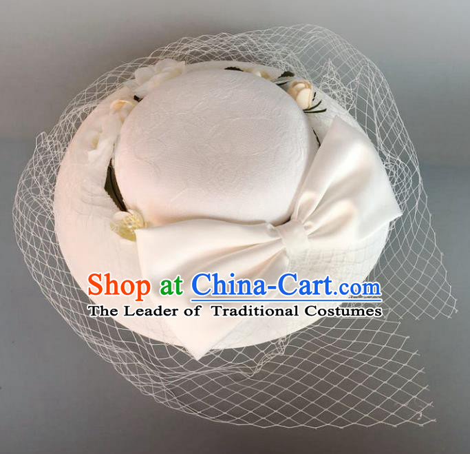 Handmade Baroque Hair Accessories Model Show White Bowknot Top Hats, Bride Ceremonial Occasions Headwear for Women