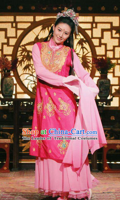 Traditional Chinese Qing Dynasty Imperial Concubine Dance Costume, Asian China Ancient Palace Lady Water Sleeve Embroidered Clothing