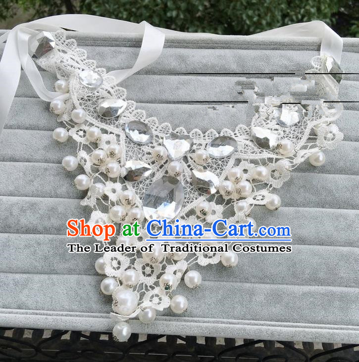 Handmade Wedding Accessories Lace Necklace, Bride Ceremonial Occasions Vintage Pearls Necklet for Women