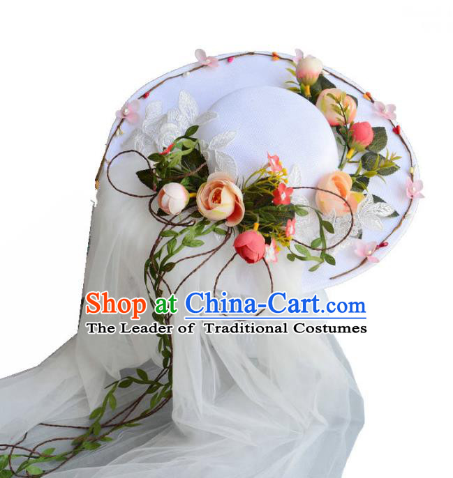 Top Grade Handmade Wedding Hair Accessories Garland Headwear, Baroque Style Halloween Flowers Top Hat for Women