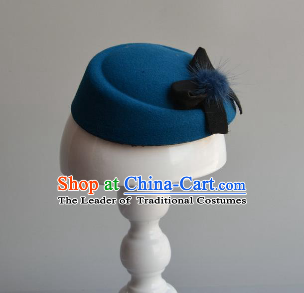 Top Grade Handmade Wedding Hair Accessories Bride Headwear, Baroque Style Blue Bowknot Top Hat for Women