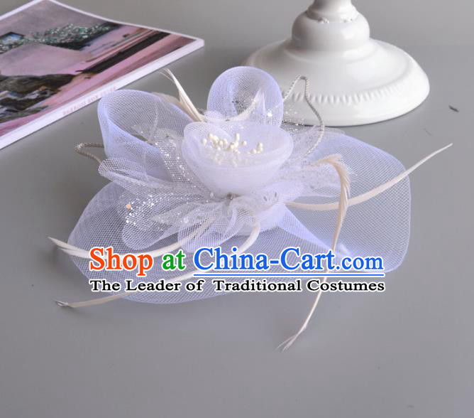 Top Grade Handmade Wedding Hair Accessories Bride Veil Headwear, Baroque Style Feather Hair Stick for Women