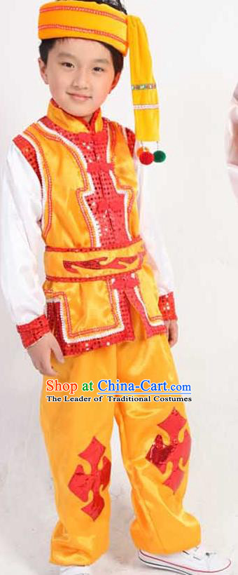 Traditional Chinese Classical Yangge Fan Dance Costume, Dai Nationality Folk Dance Uniform Drum Dance Yellow Clothing for Kids