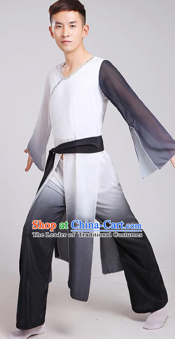 Traditional Chinese Classical Yangge Dance Costume, Folk Fan Dance Uniform Drum Dance Black Clothing for Men