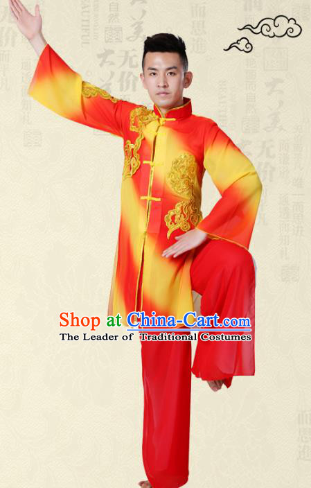Traditional Chinese Classical Yangge Fan Dance Costume, Folk Dance Uniform Drum Dance Clothing for Men