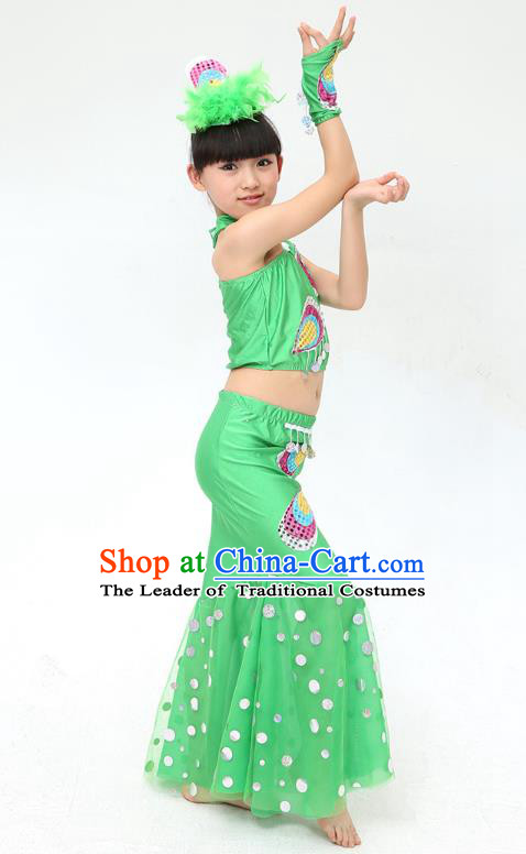 Traditional Chinese Dai Nationality Peacock Dance Green Costume, Folk Dance Ethnic Pavane Clothing Minority Dance Dress for Kids