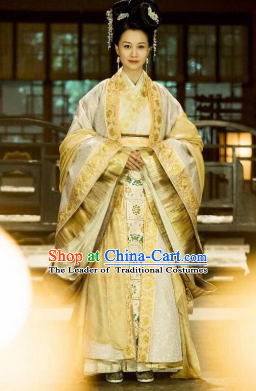 Traditional Chinese Qin Dynasty Imperial Empress Costume, Asian China Ancient Queen Mother Tailing Embroidered Clothing for Women