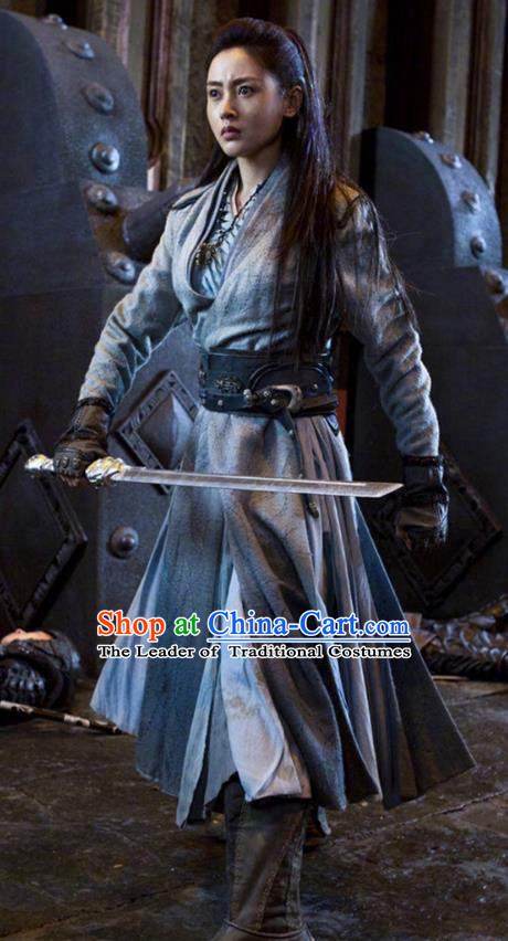 Traditional Chinese Ming Dynasty Swordswoman Costume, Asian China Ancient Heroine Clothing for Women