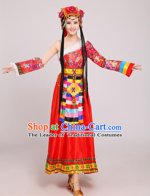 Traditional Chinese Zang Nationality Dance Costume, China Tibetan Minority Embroidery Red Dress for Women