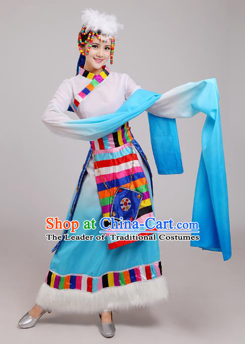 Traditional Chinese Zang Nationality Dance Costume, China Tibetan Minority Embroidery Water Sleeve Blue Dress for Women