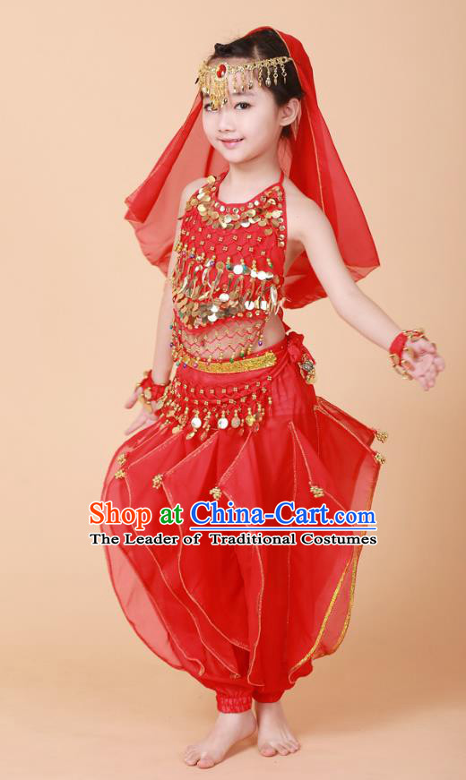 Traditional Chinese Uyghur Nationality Indian Dance Costume, China Uigurian Minority Embroidery Red Clothing for Kids