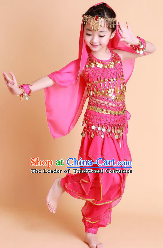 Traditional Chinese Uyghur Nationality Indian Dance Costume, China Uigurian Minority Embroidery Rosy Clothing for Kids