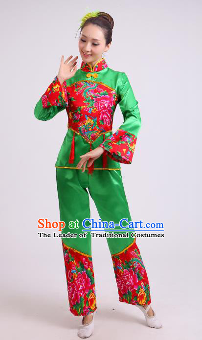 Traditional Chinese Yangge Dance Green Costume, Folk Waist Drum Dance Uniform Classical Dance Embroidery Clothing for Women