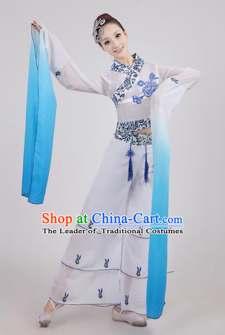Traditional Chinese Water Sleeve Dance Costume, Folk Dance Uniform Classical Dance Embroidery Clothing for Women