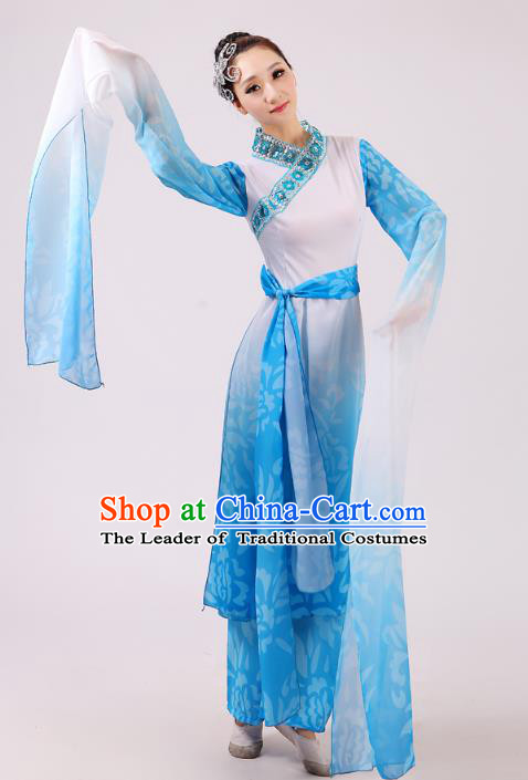 Traditional Chinese Yangge Fan Dance Dance Blue Costume, Folk Dance Uniform Classical Dance Water Sleeve Dress Clothing for Women