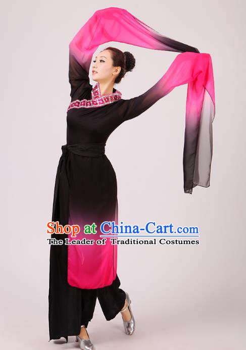 Traditional Chinese Yangge Fan Dance Dance Black Costume, Folk Dance Uniform Classical Dance Water Sleeve Clothing for Women