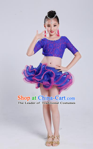 Top Grade Modern Dance Latin Dance Competition Costume, Opening Dance Purple Dress for Kids