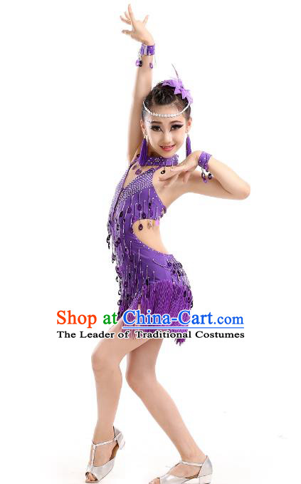 Top Grade Modern Dance Professional Latin Dance Competition Costume, Opening Dance Purple Tassel Dress for Kids