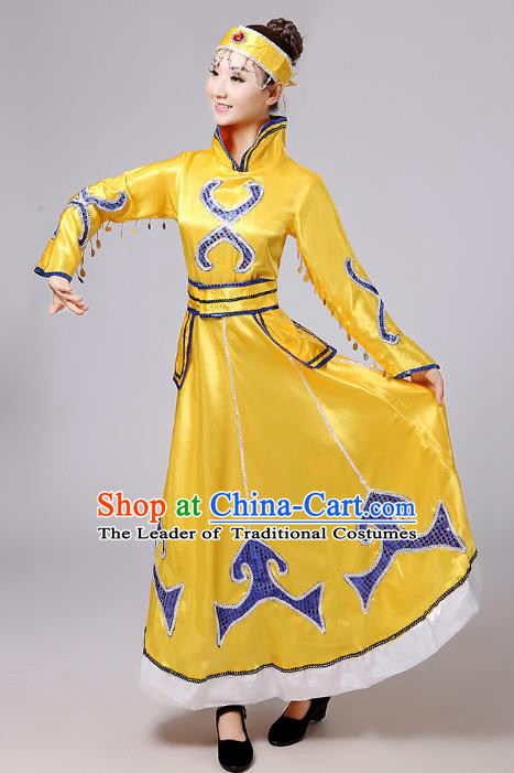 Traditional Chinese Mongol Nationality Dance Costume, China Mongolian Minority Embroidery Yellow Dress Clothing for Women