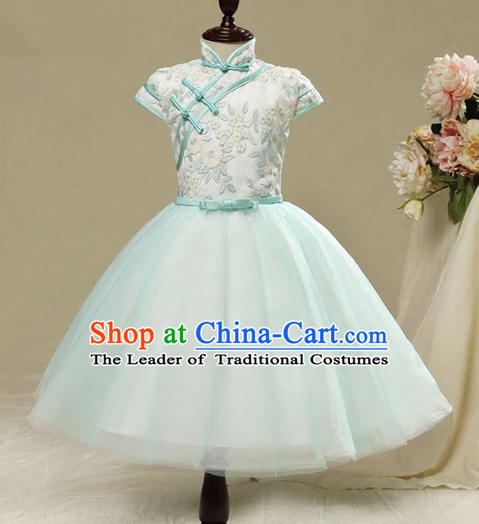 Children Modern Dance Flower Fairy Costume, Chorus Group Clothing Princess Cheongsam Green Bubble Veil Short Dress for Girls