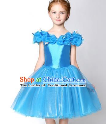 Children Modern Dance Flower Fairy Costume Blue Short Bubble Dress, Performance Model Show Clothing Princess Veil Full Dress for Girls