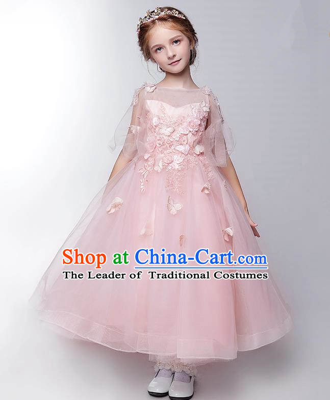 Children Modern Dance Flower Fairy Costume Pink Long Bubble Dress, Performance Model Show Clothing Princess Veil Full Dress for Girls