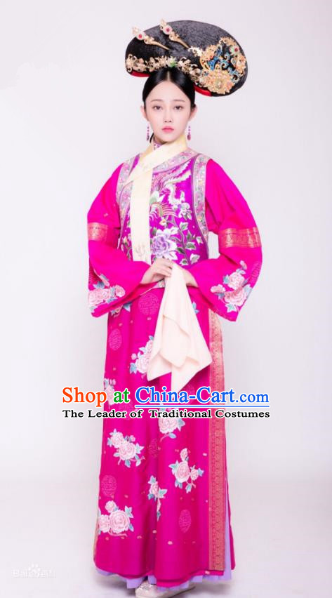 Traditional Chinese Ancient Palace Princess Costume and Handmade Headpiece Complete Set, Asian China Qing Dynasty Manchu Lady Embroidered Clothing