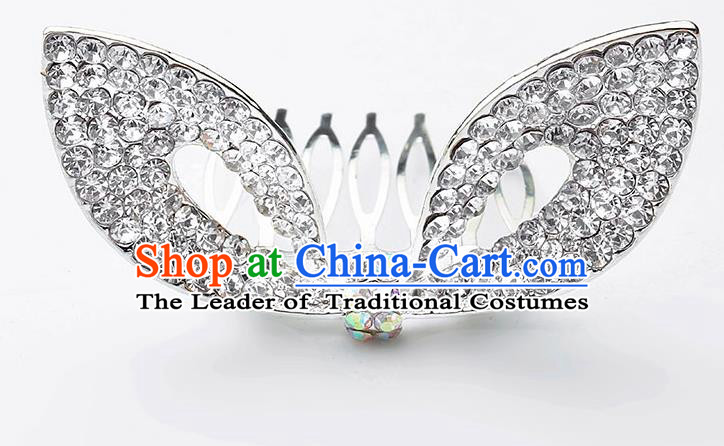 Handmade Children Hair Accessories Crystal Hair Comb, Princess Halloween Model Show Royal Crown Headwear for Kids