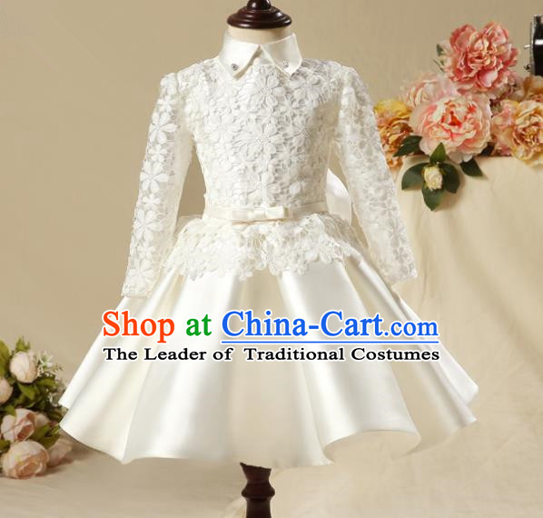 Children Model Show Dance Costume Embroidered White Lace Satin Dress, Ceremonial Occasions Catwalks Princess Full Dress for Girls