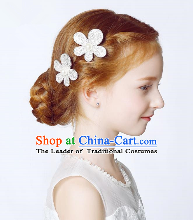 Handmade Children Hair Accessories Crystal Flower Hair Stick, Princess Halloween Model Show Headwear Hair Claw for Kids